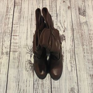 Xhilration Brown Buckle Heeled Boots